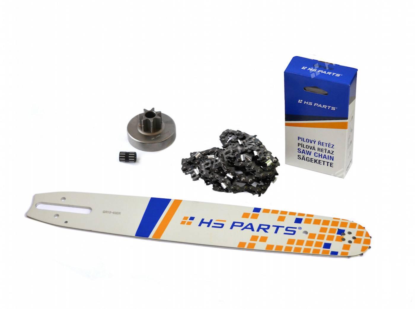 "HS PARTS Prowadnica 15""(38cm) + Łańcuch .3/8"" 1,6 mm 56 ogniw + Bęben sprzęgła Stihl MS380"
